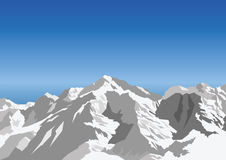 Mountain. Snow capped mountain against a blue sky Vector Illustration
