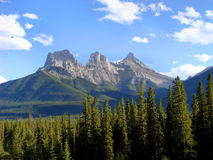 Mountain. The famous Three Sisters peaks near Canmore, Alberta Royalty Free Stock Photo