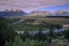 Mountain 21. The Snake River wanders through Jackson Hole in Grand Teton National Park, Wyoming, USA royalty free stock image