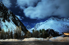 Mountain. Night winter wiev of Alps in Austria Stock Image
