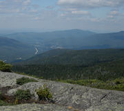 On the mountain. Looking into the Valley of the White Mountains in northern New Hampshire Stock Photography