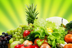 Mountain. Fresh Vegetables, Fruits and other foodstuffs. Shot in a studio Royalty Free Stock Images