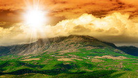 Mountain. Summer landscape . Clouds have covered peak of mountain Royalty Free Stock Photography