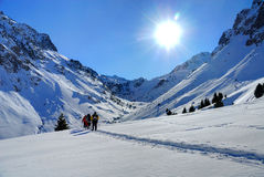 Mountain. Walkers in the French Pyrenees (Bareges Royalty Free Stock Photo