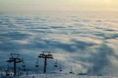 Mountain above the clouds Stock Photo