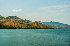 Mountain above the dam in Thailand In the fall stock photo