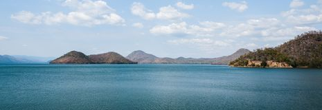 Mountain above the dam in Thailand In the fall stock image