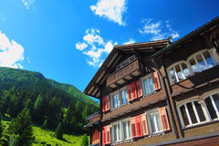 Mountain accommodation in Andermatt Stock Photo