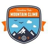 Mountain adventure badge emblem. Mountain climbing adventure badge graphic design emblem Royalty Free Stock Photography