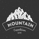 Mountain adventure and expedition insignia badge. Stock Photography