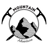 Mountain adventure and expedition insignia badge. Mountain adventure and expedition insignia badge collection. Outdoor expedition logo. Climbing stamped t-shirt royalty free illustration