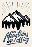Mountain adventure insignia. Hand drawn mountain adventure insignia with typography design Stock Images