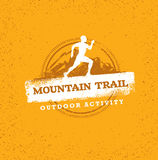 Mountain Adventure Sport Trail. Creative Vector Outdoor Concept on Grunge Background. Mountain Adventure Trail. Creative Vector Outdoor Concept on Grunge Stock Image