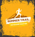 Mountain Adventure Sport Trail. Creative Vector Outdoor Concept on Grunge Background. Mountain Adventure Trail. Creative Vector Outdoor Concept on Grunge Stock Images