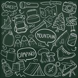 Mountain Adventure Traditional Doodle Icons Sketch Hand Made Design Vector royalty free illustration