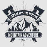 Mountain Adventure vintage label, badge, logo or emblem. Vector illustration.  royalty free illustration