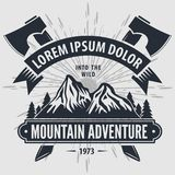 Mountain Adventure vintage label, badge, logo or emblem. Vector illustration.  stock illustration