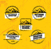 Mountain Adventures Vector Stamps Collection. Outdoor Design Elements Set On Rough Grunge Background Royalty Free Stock Image