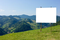 Mountain advertising. Ad panel on a mountain view Stock Photo