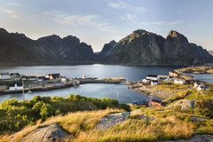 Mountain aerial view on Lofoten Islands, Norway Stock Images