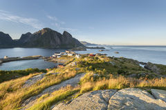 Mountain aerial view on Lofoten Islands, Norway Royalty Free Stock Images