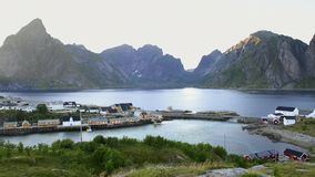 Mountain aerial view on Lofoten Islands, Norway stock video