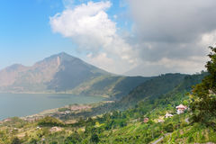 Mountain Agung and volcanic lake at bottom. Bali. Stock Images