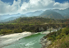 Mountain Alaknanda river. Flowing in canyon and the cloudy sky, Gaucher, Uttarakhand Stock Photography