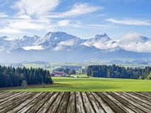 Mountain Allgau with wooden floor Stock Image