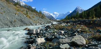 Mountain Altai. The river Akkem, a kind on the Whi Stock Images