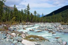 Mountain Altai. The river Akkem. Royalty Free Stock Images