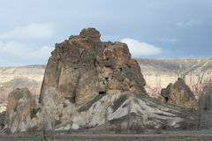 The mountain with ancient cave dwellings. Gereme, Turkey Royalty Free Stock Image