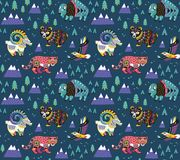 Mountain animals pattern in ethnic style. Stylish vector graphics for children`s design. Mountain animals pattern in tribal style. Vector illustration stock illustration
