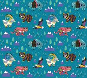 Mountain animals pattern in ethnic style. Vector illustration. Mountain animals pattern in tribal style. Vector illustration royalty free illustration