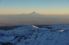 Mountain Aragats Armenia clouds sky. Mountain sky peaks snow sun blue snow Armenia Caucasus sky Stock Photos