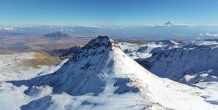 Mountain Aragats Armenia clouds sky. Mountain sky peaks snow sun blue snow Armenia Caucasus sky Stock Photography