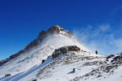 Mountain Aragats Armenia clouds sky. Mountain sky peaks snow sun blue snow Armenia Caucasus berg Stock Image