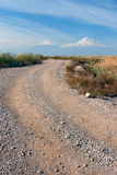 Mountain of Ararat view from Armenia. A windy road taking to the Mountain of Ararat Stock Image