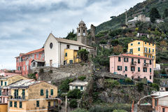 Mountain architecture of Riomaggiore town in Cinque Terre National park, Italy Stock Image