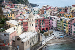 Mountain architecture of Riomaggiore town in Cinque Terre National park, Italy Stock Photography