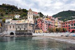 Mountain architecture of Vernazza town at ligurian coast in Italy Royalty Free Stock Image