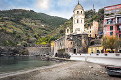 Mountain architecture of Vernazza town at ligurian coast in Italy Royalty Free Stock Photos