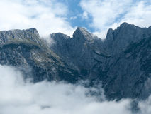 Mountain with ascending fog Royalty Free Stock Photo