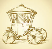 Mountain ash. Vector sketch. Beautiful cute romantic classic buggy gharry horse-drawn car with curtained window. Vector fairy tale freehand ink drawn gold Royalty Free Stock Image