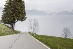 Mountain asphalt route - Switzerland. Royalty Free Stock Photos