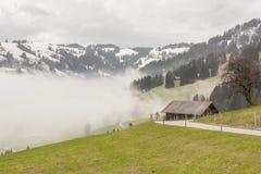 Mountain asphalt route - Switzerland. Royalty Free Stock Photo