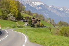Mountain asphalt route - Switzerland. Stock Photo