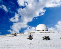 Mountain astronomic observatory. In winter Stock Photography