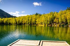 Mountain autumn green siberia lake with reflection, wooden pier and birch. Russia Stock Photos