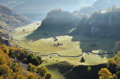 Mountain autumn landscape. With colorful forest Stock Images